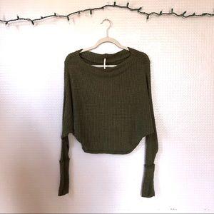Free People | Waffle Knit Long Sleeve Crop Top XS